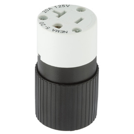 Hubbell 20-Amp 125-Volt Black/White 3-Wire Grounding