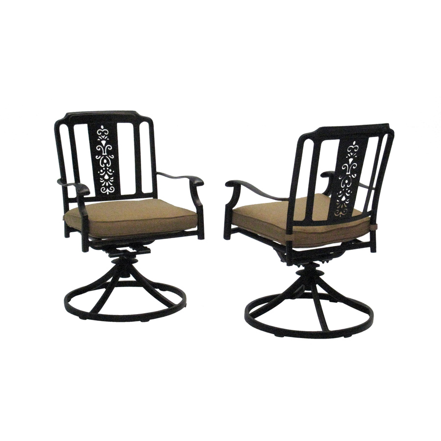 Shop garden treasures set of 2 buckner terrace black with for Patio dining sets with bench seating
