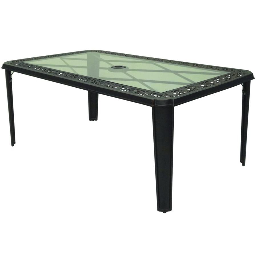 Shop garden treasures buckner terrace glass top bronze for Glass top outdoor dining table