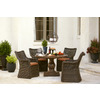 allen + roth Meridale 47.6-in Steel-Top Brown Resin-Frame Round Patio Dining Table