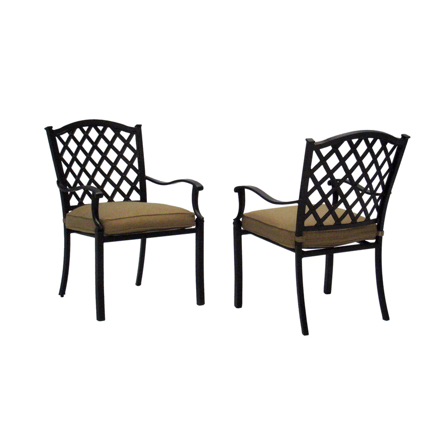 Shop allen roth set of 2 shadybrook bronze strap seat for Stackable outdoor dining chairs