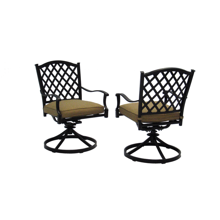 Shop allen roth set of 2 shadybrook bronze strap seat for Outdoor swivel chairs