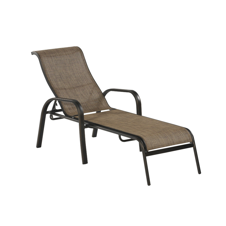 Shop allen roth tenbrook sling seat aluminum patio for Chaise aluminium