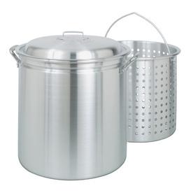 Bayou Classic 60-Quart Aluminum Stock Pot with Lid and Basket