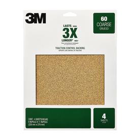 3M 4-Pack 60-Grit 9-in W x 11-in L Coarse Grit Sandpaper Sheets