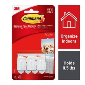 Command 3-Pack Plastic Adhesive Hooks