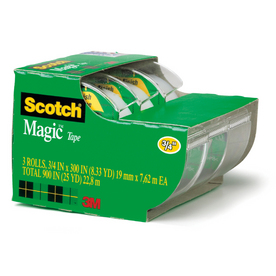 Scotch 3-Pack .75-in x 25-ft Magic&amp;#153; Tape