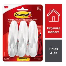 Command 6-Pack Plastic Adhesive Hooks