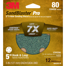 3M 12-Pack 5-in W x 5-in L 80-Grit Commercial Discs Sandpaper