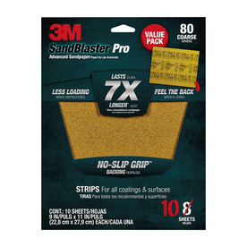 3M 10-Pack 80-Grit 9-in W x 11-in L Sandpaper Sheets