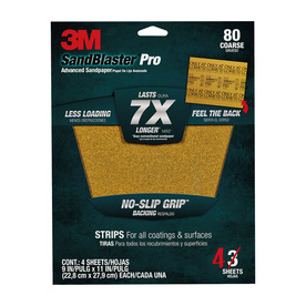 3M 4-Pack 9-in W x 11-in L 80-Grit Commercial Sandpaper Sheets