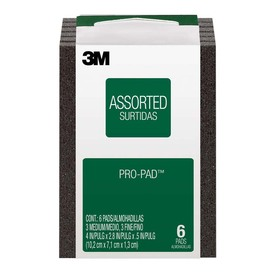 3M 3M Pro-Pad Sanding Pad, 6 Pack, 2.8 In x 4 In x .5 In, Assorted Grit