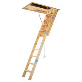 Werner 10 Ft Wood 350 Lb Attic Ladder
