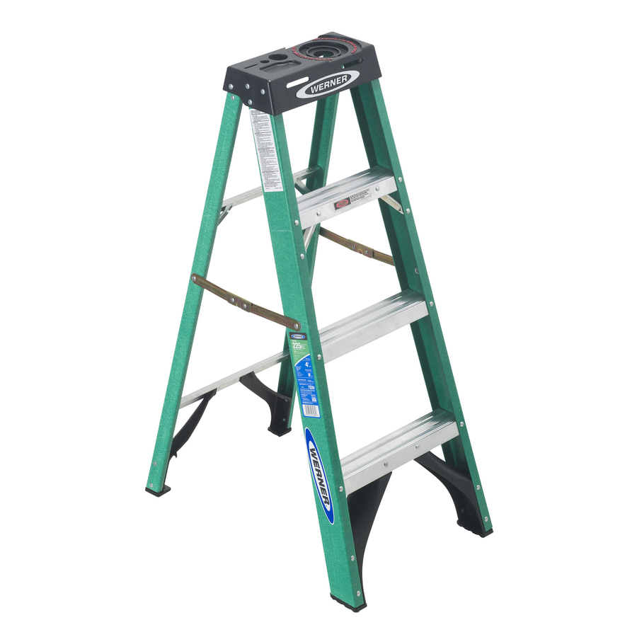 Shop Werner 4 Ft Fiberglass 225 Lb Type Ii Step Ladder At