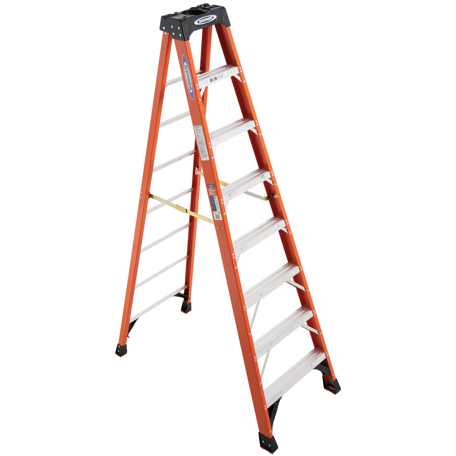 Shop Werner 8 Ft Fiberglass 300 Lbs Type Ia Step Ladder At