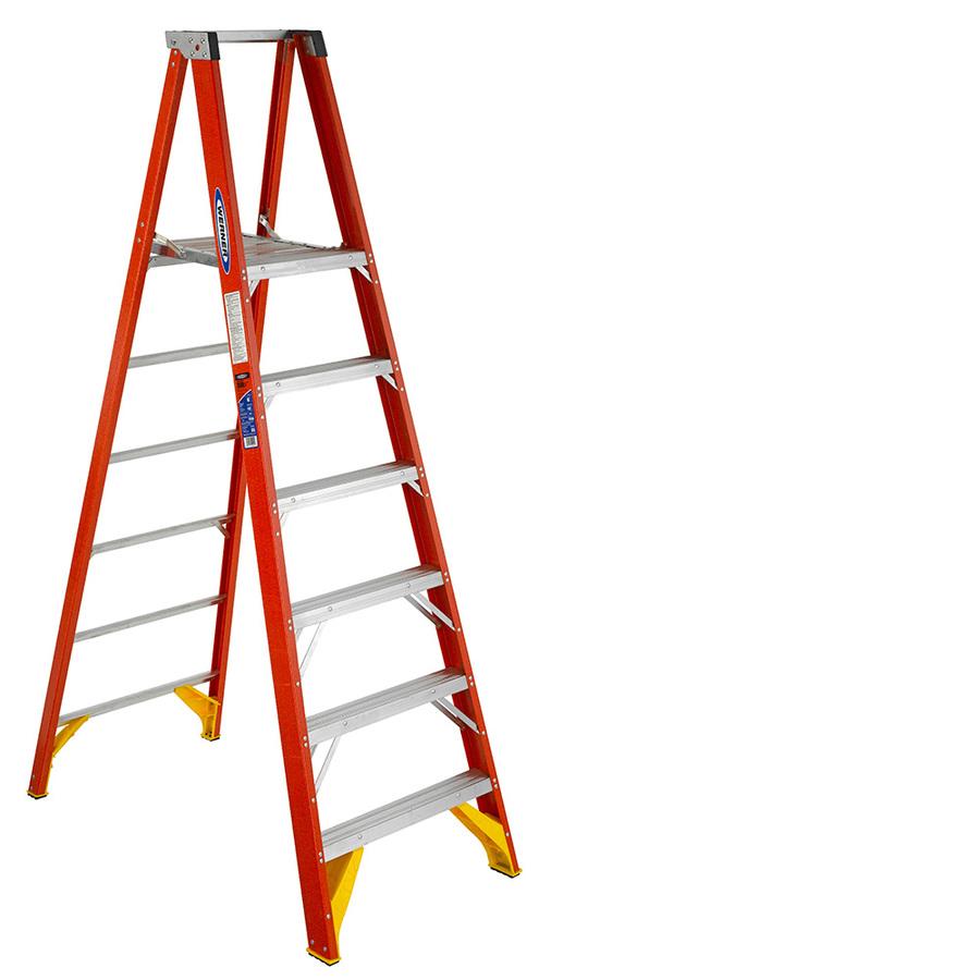 Shop Werner 6 Ft Fiberglass 300 Lb Type Ia Platform Ladder
