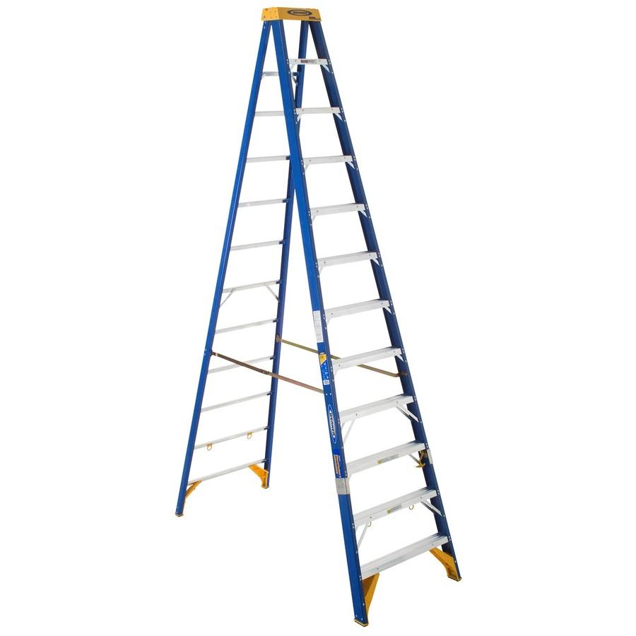 shop werner 12 ft fiberglass 375 lb type iaa step ladder at. Black Bedroom Furniture Sets. Home Design Ideas