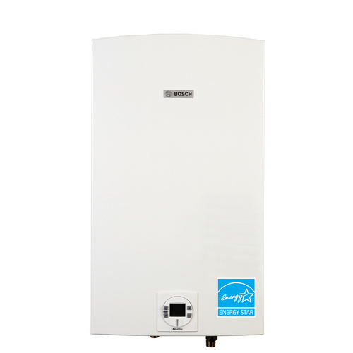 Bosch AquaStar 2700ES Bosch's most powerful tankless water heater (199,000 BTUs) can supply two to three major applications simultaneously!
