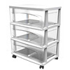 Style Selections 21.75-in x 24.625-in 3-Drawer White Clear Plastic Cart