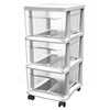 Style Selections 14.5-in x 20.75-in 3-Drawer Clear with White Frame Plastic Cart