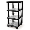 BELLA Contemporary Storage 14.5-in x 26-in 3-Drawer Black Clear Plastic Cart