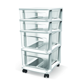 BELLA Contemporary Storage White 4-Drawer Medium Cart