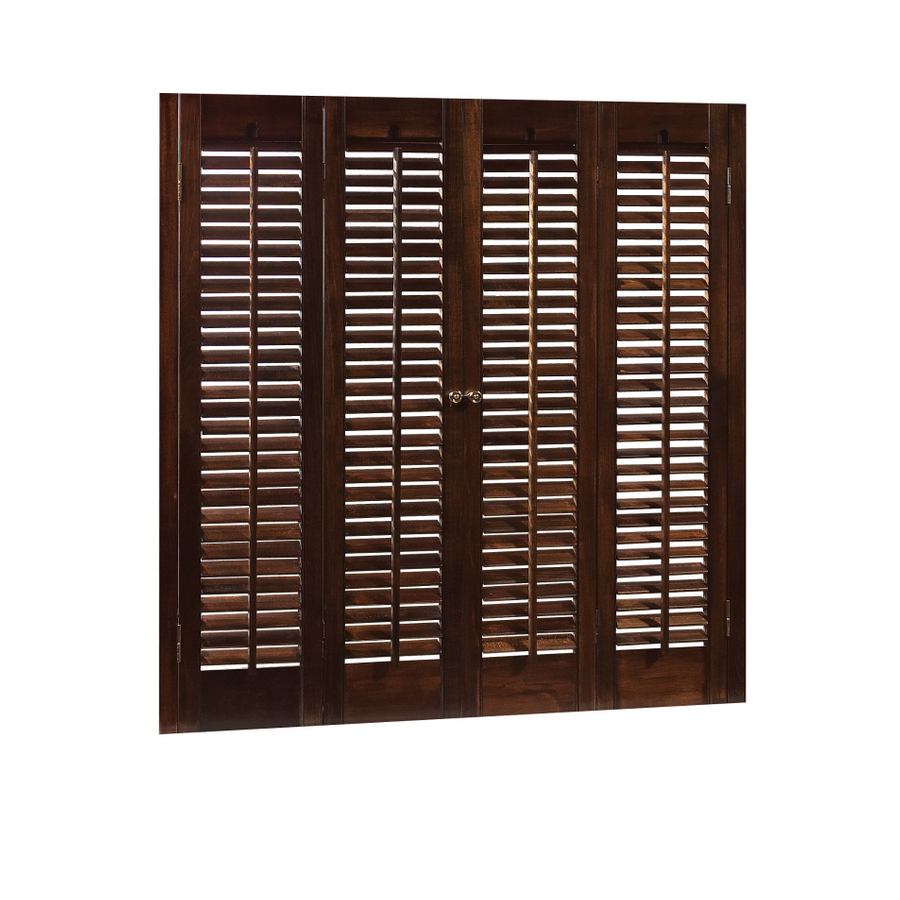 Shop Allen Roth 31 In 33 Inw X 28 Inl Colonial Mahogany Wood Interior Shutter At