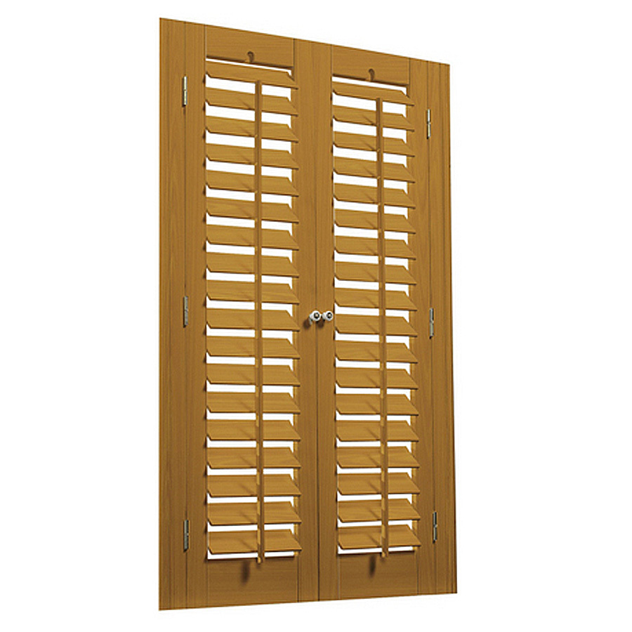 Shop Allen Roth 31 In To 33 In W X 36 In L Plantation Golden Oak Faux Wood Interior Shutter At