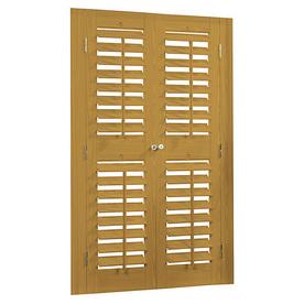 allen + roth 39-in to 41-in W x 48-in L Plantation Golden Oak Faux Wood Interior Shutter