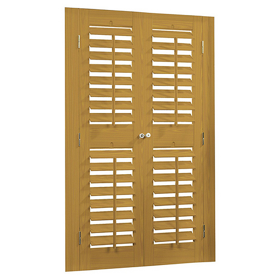Shop Allen Roth 39 In To 41 In W X 72 In L Plantation Golden Oak Faux Wood Interior Shutter At