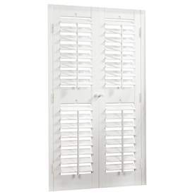 allen + roth 39-in to 41-in W x 48-in L Plantation White Faux Wood Interior Shutter