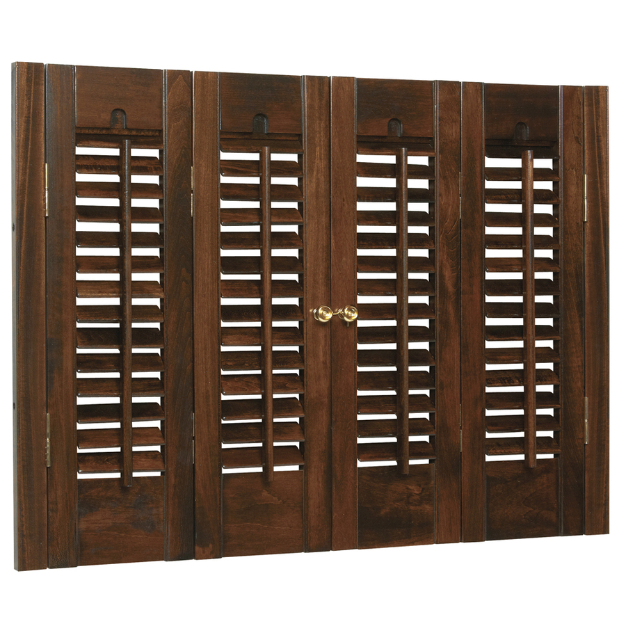 Shop Allen Roth 35 In To 37 In W X 24 In L Colonial Mahogany Wood Interior Shutter At
