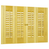 allen + roth 35-in-37-in W x 28-in L Colonial Golden Oak Wood Interior Shutter