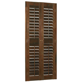 Style Selections 35-in to 37-in W x 60-in L Plantation Mahogany Wood Interior Shutter