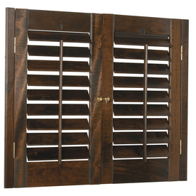 Style Selections 35-in to 37-in W x 36-in L Plantation Mahogany Wood Interior Shutter