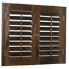 Style Selections 27-in to 29-in W x 24-in L Plantation Mahogany Wood Interior Shutter