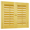Style Selections 27-in to 29-in W x 24-in L Plantation Golden Oak Wood Interior Shutter