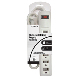 Project Source 6-Outlet Power Strip with Built-In Circuit Breaker