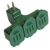 Utilitech 15-Amp 3-Wire Grounding Single-to-Triple Green Adapter