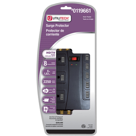 Utilitech 8-Outlet Home Entertainment Surge Protector (Auto-Off Safety)