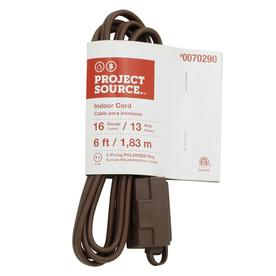 Project Source 6-ft 13-Volt 3-Outlet 16-Gauge Brown Indoor Household Extension Cord