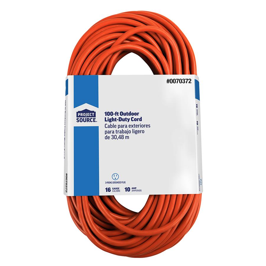 shop basic connections 100 ft 10 amp 16 gauge orange outdoor extension cord at. Black Bedroom Furniture Sets. Home Design Ideas