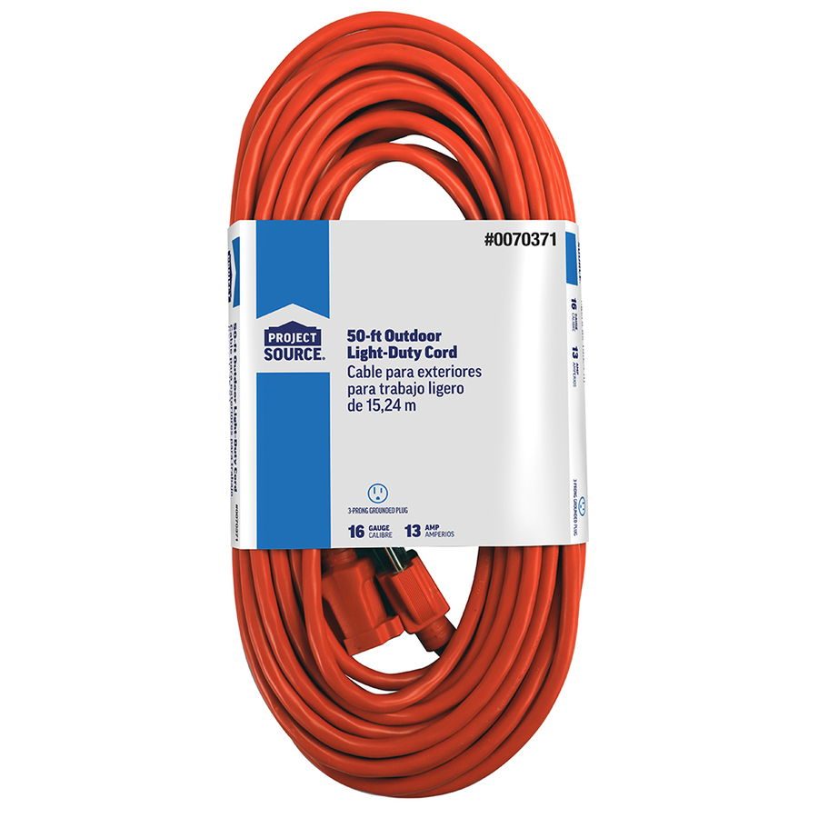 shop project source 50 ft 13 amp 16 orange outdoor extension cord at lowes