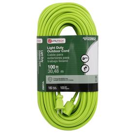 Utilitech 100-ft 10 125-Volt 16-Gauge Lime Green Outdoor Extension Cord
