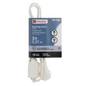 Utilitech 3-ft 13-Volt 3-Outlet 16-Gauge White Indoor Household Extension Cord