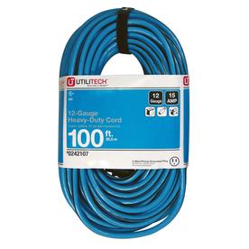Utilitech 100-ft 15-Volt 12-Gauge Blue/Black Outdoor Extension Cord