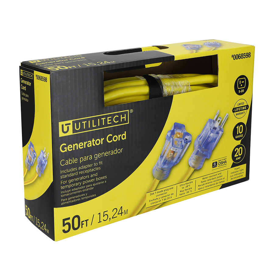 Shop Utilitech 50 Ft 20 Amp 110 Volt 10 3 Yellow Outdoor