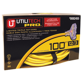 Utilitech 100-ft 15-Volt 3-Outlet 12-Gauge Yellow Outdoor Extension Cord