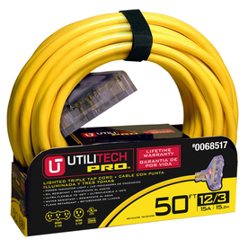 Utilitech 50-ft 3-Outlet 12-Gauge Outdoor Extension Cord