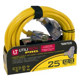 Utilitech 25-ft 15-Volt 3-Outlet 12-Gauge Yellow Outdoor Extension Cord